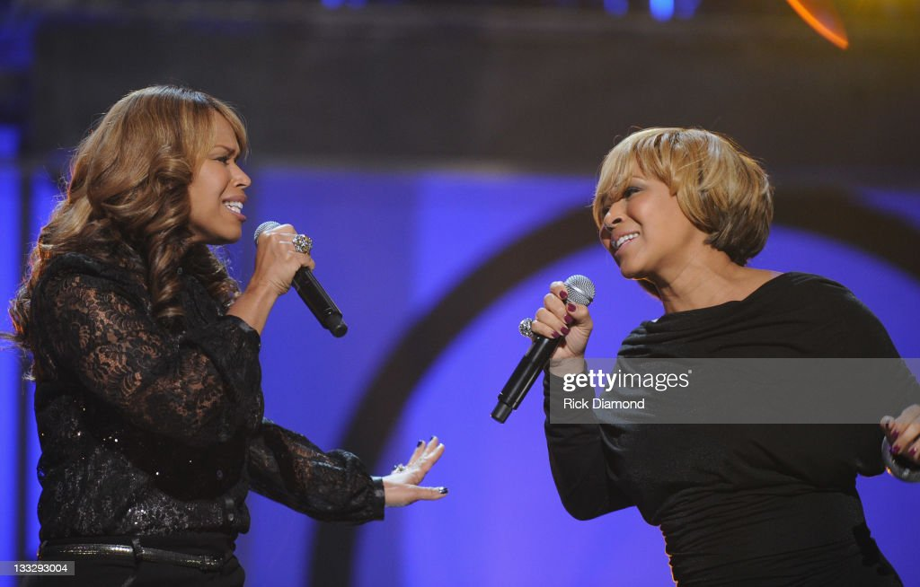 Mary Mary (Tina Campbell and <a gi-track='captionPersonalityLinkClicked' href=/galleries/search?phrase=Erica+Campbell&family=editorial&specificpeople=827874 ng-click='$event.stopPropagation()'>Erica Campbell</a>) perform during the 2011 Soul Train Awards at The Fox Theatre on November 17, 2011 in Atlanta, Georgia.
