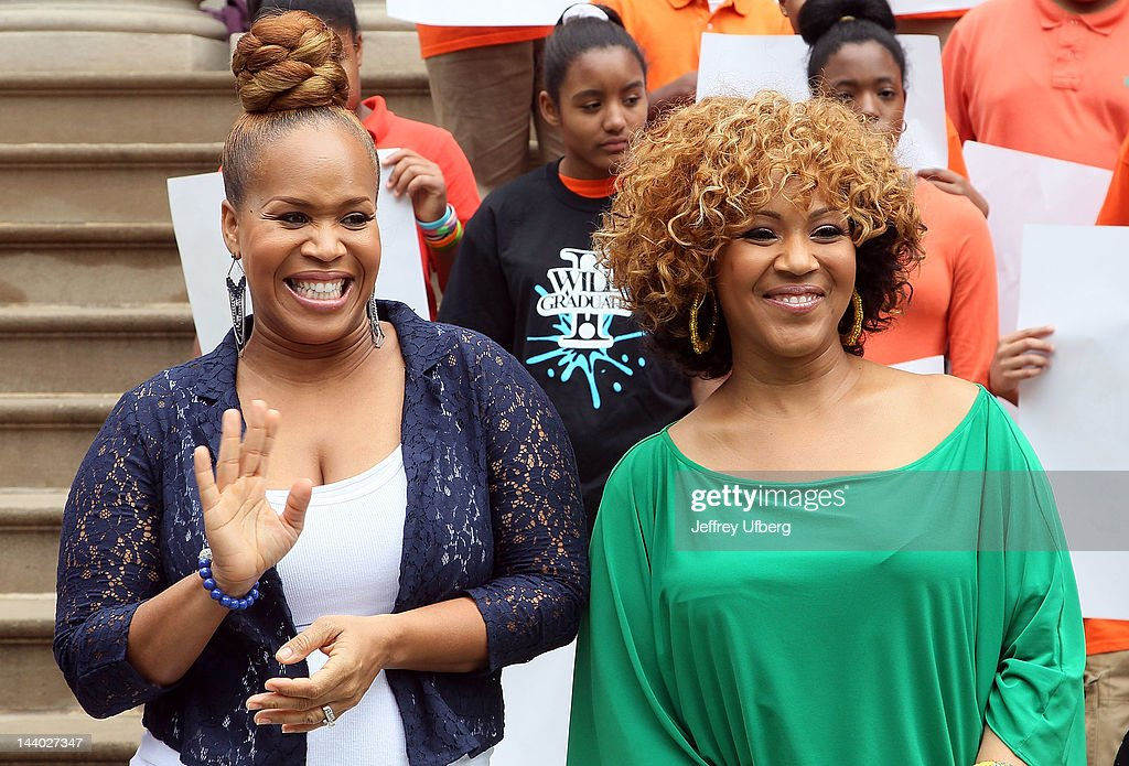 Mary Mary's Erica and Tina Campbell attend the Entertainers 4 Education Alliance I Will Graduate campaign poster unveiling at City Hall on May 8, 2012 in New York City.