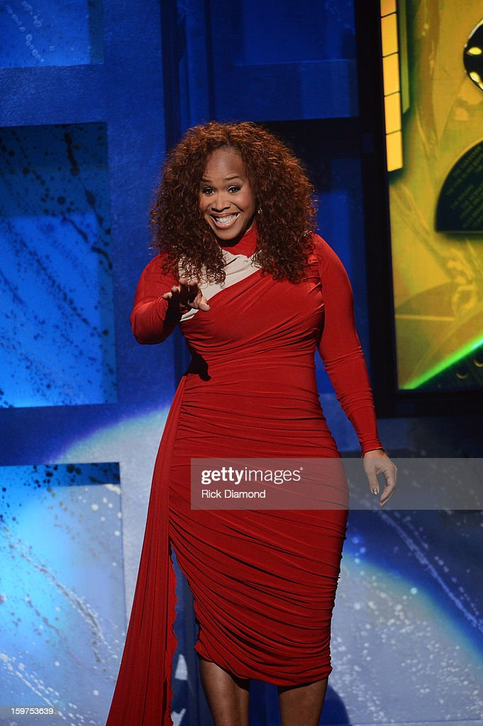 Mary Mary's Tina Campbell hosts the 28th Annual Stellar Awards Show at Grand Ole Opry House on January 19, 2013 in Nashville, Tennessee.