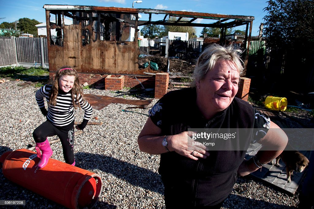Mary McCarthy laughing in defiance at the situation at Dale Farm site prior to eviction Riot police and bailiffs were present on 20th October 2011 as...