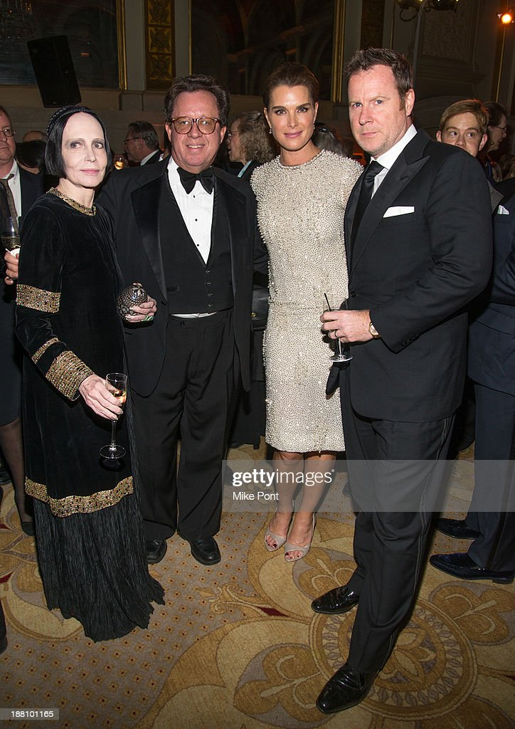 Mary McFadden, Gregory Speck, <a gi-track='captionPersonalityLinkClicked' href=/galleries/search?phrase=Brooke+Shields&family=editorial&specificpeople=202197 ng-click='$event.stopPropagation()'>Brooke Shields</a>, and <a gi-track='captionPersonalityLinkClicked' href=/galleries/search?phrase=Chris+Henchy&family=editorial&specificpeople=220228 ng-click='$event.stopPropagation()'>Chris Henchy</a> attend the 20th New York Landmarks Conservancy's Living Landmarks Ceremony at The Plaza Hotel on November 14, 2013 in New York City.