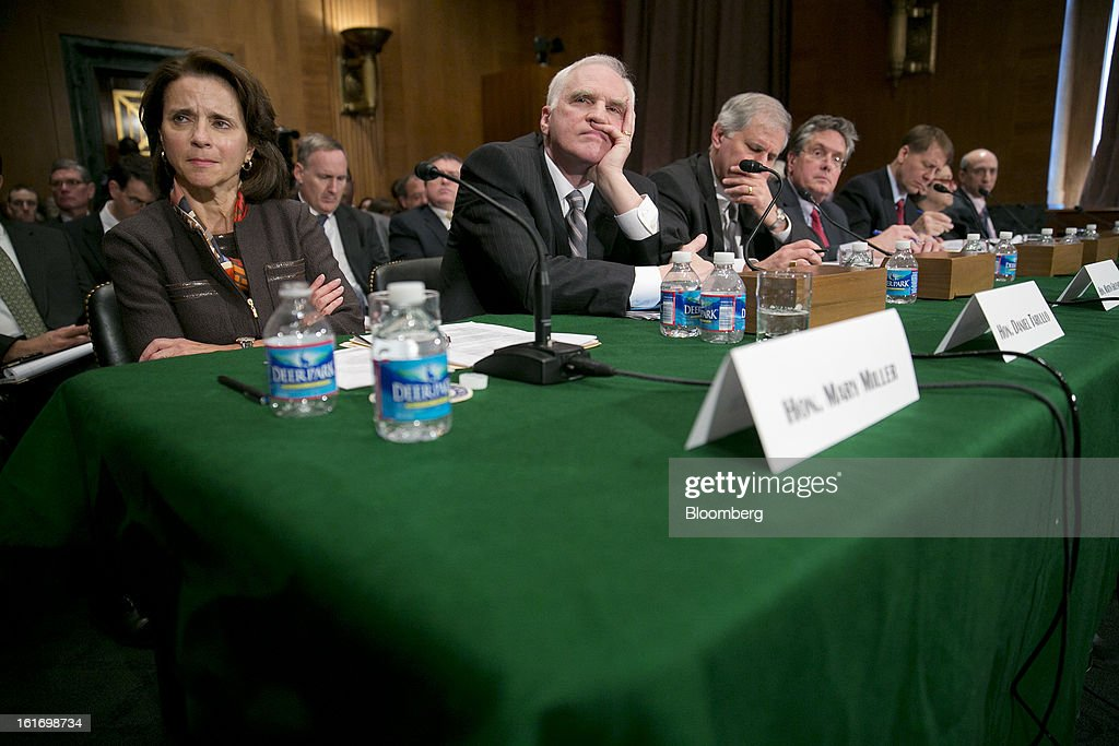 Mary Miller, undersecretary for domestic finance at the U.S. Treasury, left to right, Daniel Tarullo, governor of the U.S. Federal Reserve, Martin Gruenberg, chairman of the Federal Deposit Insurance Corp. (FDIC), Thomas Curry, comptroller of the U.S. currency, <a gi-track='captionPersonalityLinkClicked' href=/galleries/search?phrase=Richard+Cordray&family=editorial&specificpeople=7979683 ng-click='$event.stopPropagation()'>Richard Cordray</a>, director of the Consumer Financial Protection Bureau (CFPB), Elisse Walter, chairman of the Securities and Exchange Commission (SEC), and Gary Gensler, chairman of the U.S. Commodity Futures Trading Commission (CFTC), listen to a question during a Senate Banking Committee hearing in Washington, D.C., U.S., on Thursday, Feb. 14, 2013. U.S. regulators told lawmakers they are making significant progress to prevent a repeat of the 2008 credit crisis, pushing back against complaints of slow progress and efforts to undo parts of the Dodd-Frank Act. Photographer: Andrew Harrer/Bloomberg via Getty Images