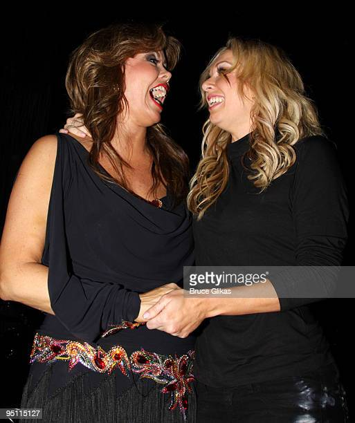 Mary Murphy and Kym Johnson at a talk back celebration for 'Burn The Floor' on Broadway at The Longacre Theatre on December 22 2009 in New York City