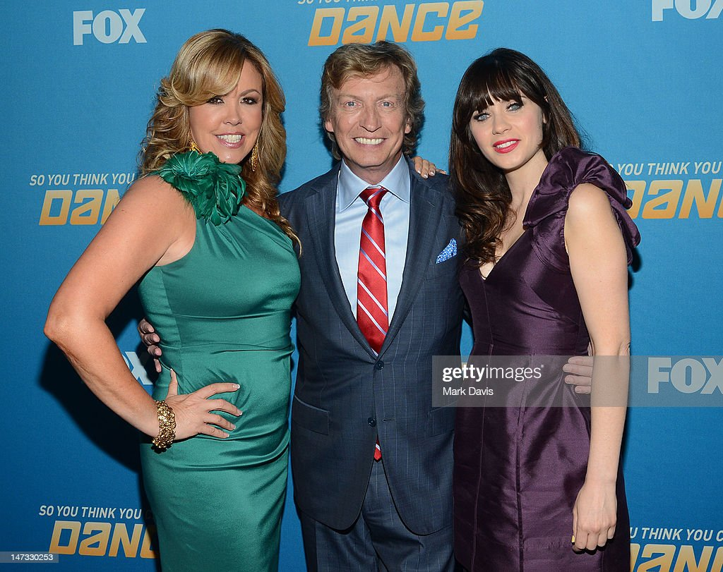 Mary Murphy, Nigel Lythgoe and Zooey Deschanel pose at the Fox Celebrates The 200th Episode Of 'So You Think You Can Dance' at CBS Television City on June 25, 2012 in Los Angeles, California.