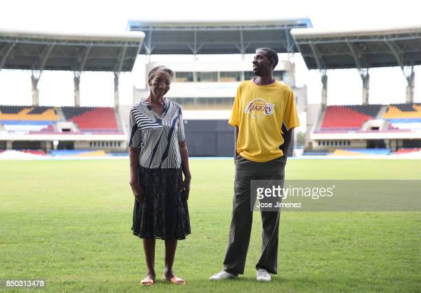 Mary Naryfrank and son Lathalie Johl pose for a portrait at a shelter in the Sir Vivian Richards Cricket Stadium on September 20 2017 in North Sound...