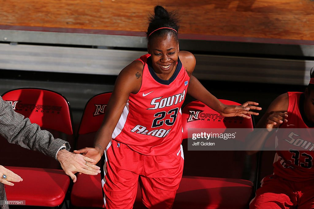 Mary Nixon #23 of the South Alabama Jaguars is introduced before the game against the Detroit Titans at The Matadome on November 24, 2012 in Northridge, California. South Alabama defeated Detroit 59-56.