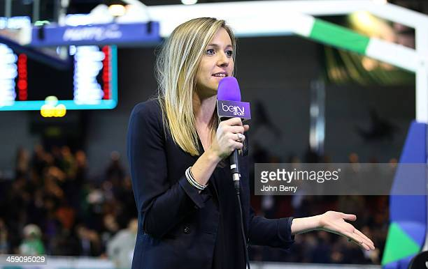 Mary Patrux journalist for Bein Sport comments during the Turkish Airlines Euroleague match between JSF Nanterre and Fenerbahce Ulker Istanbul at the...
