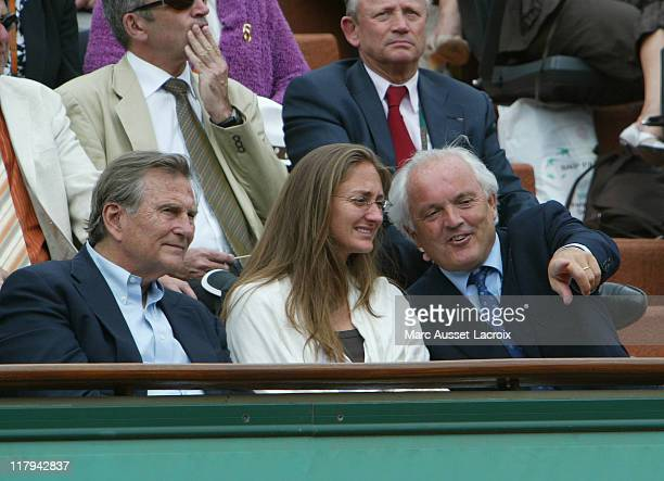 Mary Pierce and Christian Bimes during the French Open at Roland Garros arena in Paris France on June 1 2007