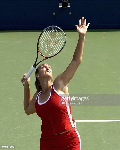 Mary Pierce of France reaches for a serve Saturday August 30 2003 at the U S Open in New York Mary Pierce beat Shinobu Asagoe 64 61