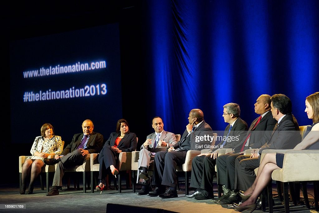 Mary Rose WIlcox, David Montejano, Ana Navarro, Luis Gutierrez, Tavis Smiley, Thomas Saenz of MALDEF, Antonio Gonzalez, Hector Barreto and Adriana Quintero serve as panelists at the 'Latino Nation Beyond the Numbers' event at Jones Convocation Center at Chicago State University on April 6, 2013 in Chicago, Illinois.
