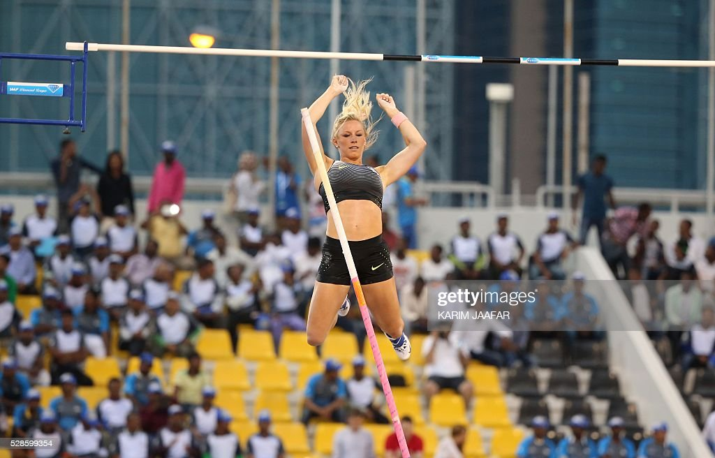 Mary Saxer of the USA competes during the Pole Vault at the Diamond League athletics competition at the Suhaim bin Hamad Stadium in Doha, on May 6, 2016. / AFP / KARIM