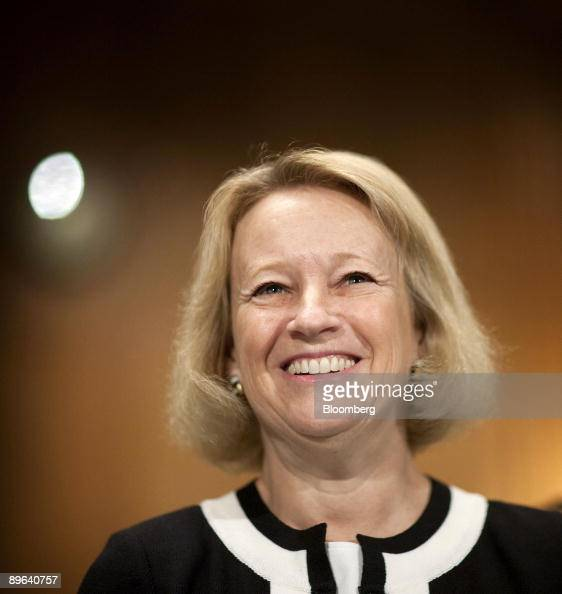 Mary Schapiro chairman of the US Securities and Exchange Commission waits to testify at a Senate Banking subcommittee hearing in Washington DC US on...