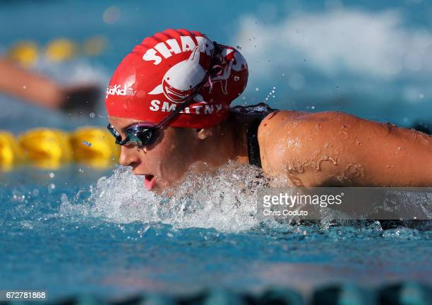 Mary Smutny competes in the finals of the women's 200 meter butterfly on day three of the Arena Pro Swim Series Mesa at Skyline Aquatic Center on...
