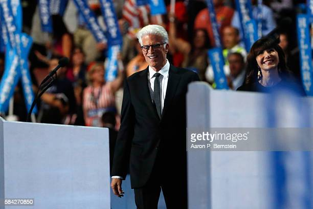 Mary Steenburgen and Ted Danson arrive on stage to deliver remarks on during the fourth day of the Democratic National Convention at the Wells Fargo...