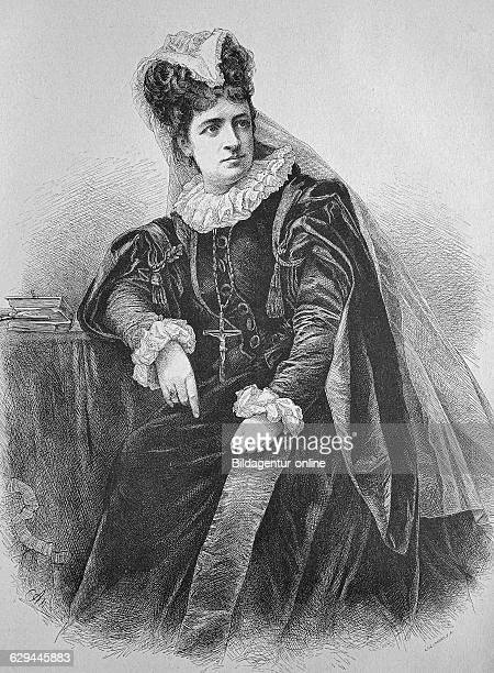 Mary stuart played by franziska ellmenreich german actress 18471931 historic wood engraving ca 1880