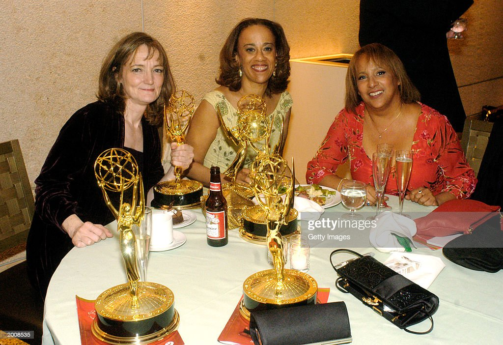 Mary Sue Price, Michelle Patrick and Michele Balgean, writers for 'General Hospital,' pose with their awards for Outstanding Drama Series Writing Team at the ABC after party for the 30th Annual Daytime Emmy Awards at the Sea Grill Restaurant May 16, 2003 in New York City.