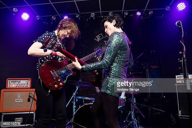 Mary Timony Laura Harris and Betsy Wright of Ex Hex perform on stage at Brudenell Social Club on February 11 2015 in Leeds United Kingdom