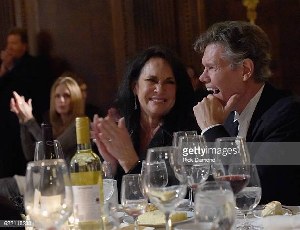 Mary Travis and Husband Honoree Randy Travis watch performance by Michael Ray of Randy Travis songs honoring Randy at Hermitage Hotel on November 9...