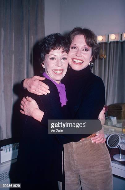 Mary Tyler Moore hugging Caol Burnett in a dressing room circa 1980 New York