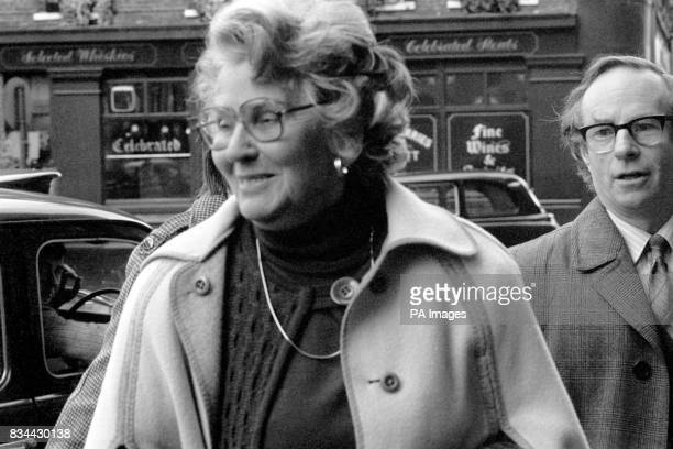 Mary Whitehouse General Secretary of the National Viewers' and Listeners' Association in London for the trial of National Theatre director Michael...