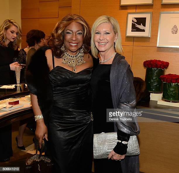 Mary Wilson and Olivia NewtonJohn attend Nevada Ballet Theater's 32nd Annual Black White Ball VIP party at Cartier at Wynn Las Vegas on January 23...