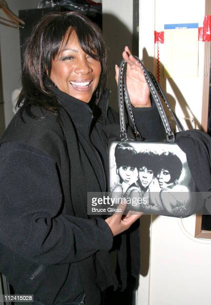 Mary Wilson with her Supremes purse during Mary Wilson of The Supremes Visits 'Little Shop of Horrors' Girl Group at The Virginia Theater in New York...