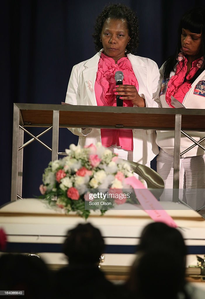 Mary Young recites a poem during the funeral service for her six-month-old granddaughter Jonylah Watkins at New Beginnings Church on March 19, 2013 in Chicago, Illinois. Watkins was shot, along with her father, while sitting on her father's lap in the family's minivan March 11. Jonylah died the following day. Her father is recovering from his wounds.