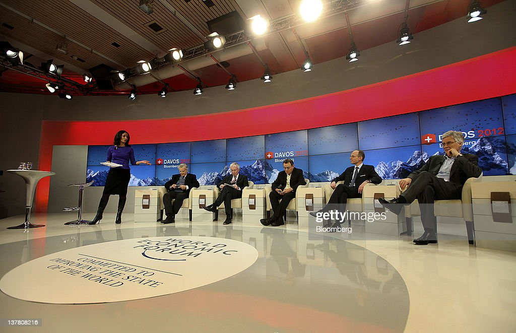 Maryam Nemazee, an anchor for Bloomberg via Getty Images Television, far left, moderates a debate attended by <a gi-track='captionPersonalityLinkClicked' href=/galleries/search?phrase=Jean-Claude+Trichet&family=editorial&specificpeople=208778 ng-click='$event.stopPropagation()'>Jean-Claude Trichet</a>, former president of the European Central Bank (ECB), from second left, Peter Sands, chief executive officer of Standard Chartered Plc, <a gi-track='captionPersonalityLinkClicked' href=/galleries/search?phrase=Nouriel+Roubini&family=editorial&specificpeople=5585642 ng-click='$event.stopPropagation()'>Nouriel Roubini</a>, co-founder and chairman of Roubini Global Economics LLC, <a gi-track='captionPersonalityLinkClicked' href=/galleries/search?phrase=Luc+Frieden&family=editorial&specificpeople=651276 ng-click='$event.stopPropagation()'>Luc Frieden</a>, Luxembourg's finance minister, and Adair Turner, chairman of the U.K.'s Financial Services Agency, on day three of the World Economic Forum (WEF) in Davos, Switzerland, on Friday, Jan. 27, 2012. The 42nd annual meeting of the World Economic Forum will be attended by about 2,600 political, business and financial leaders at the five-day conference. Photographer: Chris Ratcliffe/Bloomberg via Getty Images