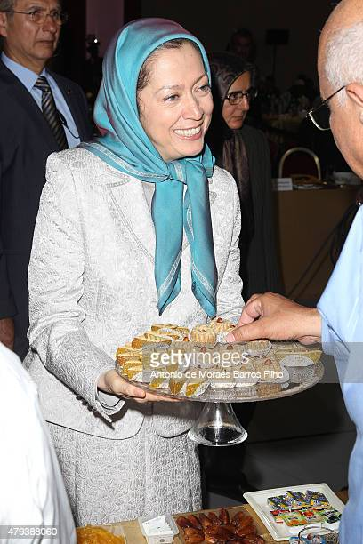 Maryam Rajavi president of the National Council of Resistance of Iran offers the Ramadan feast to guests at the Tolerant Democratic Islam vs...