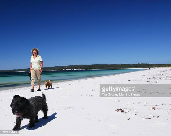 MaryAnn Bennett of Randwick on Hyams Beach Jervis Bay near a holiday home that she and her husband coown with friends 6 April 2006 SMH Picture by JON...