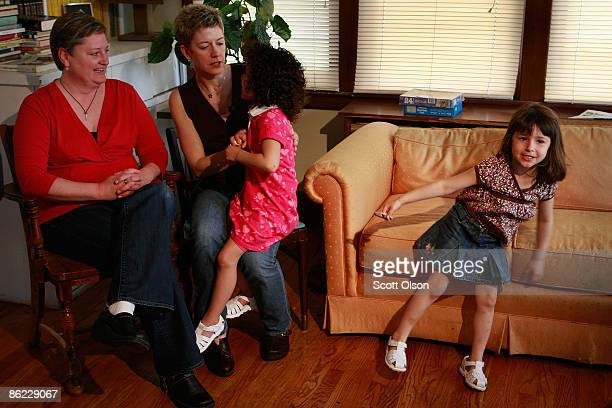 Maryfrances Evans her partner Stephanie Mcfarland and their children Audry and Frances attend a gathering of gay couples planning on getting a...