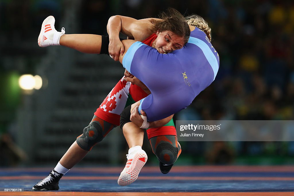 Maryia Mamashuk of Belarus competes against Henna Katarina Johansson of Sweden during the Women's Freestyle 63 kg Quarterfinals on Day 13 of the Rio...