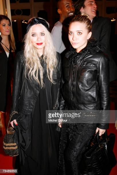 MaryKate and Ashley Olsen arrive at the Valli party during Paris fashion week Fall/Winter 2008 on March 3 2007 in Paris France