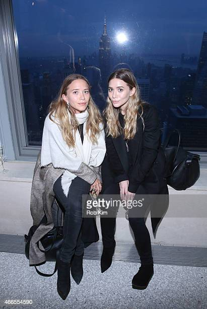 MaryKate Olsen and Ashley Olsen attend 2015 CFDA Fashion Awards Announcement Party at The Weather Room at the Top of the Rock on March 16 2015 in New...