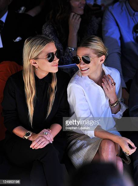 MaryKate Olsen and Ashley Olsen attend the JMendel Spring 2012 Fashion Show at Lincoln Center on September 14 2011 in New York City