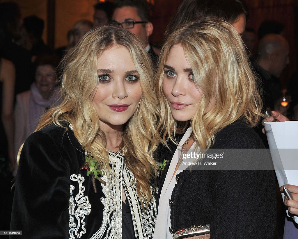 MaryKate Olsen and Ashley Olsen attend the new member induction to the Council Of Fashion Designers of America at the Four Seasons Restaurant on...
