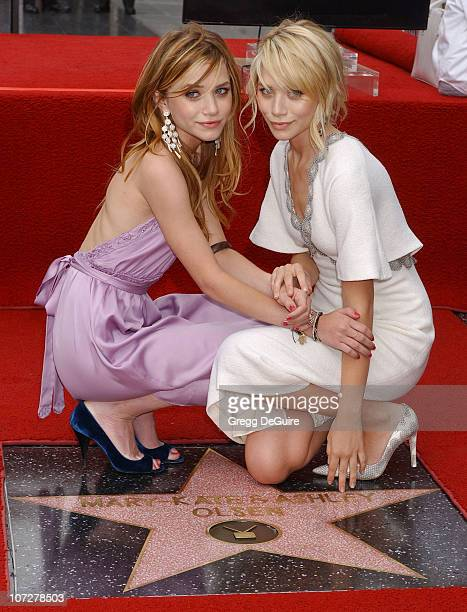 MaryKate Olsen and Ashley Olsen during MaryKate Olsen and Ashley Olsen Honored with a Star on the Hollywood Walk of Fame for Their Achievements in...