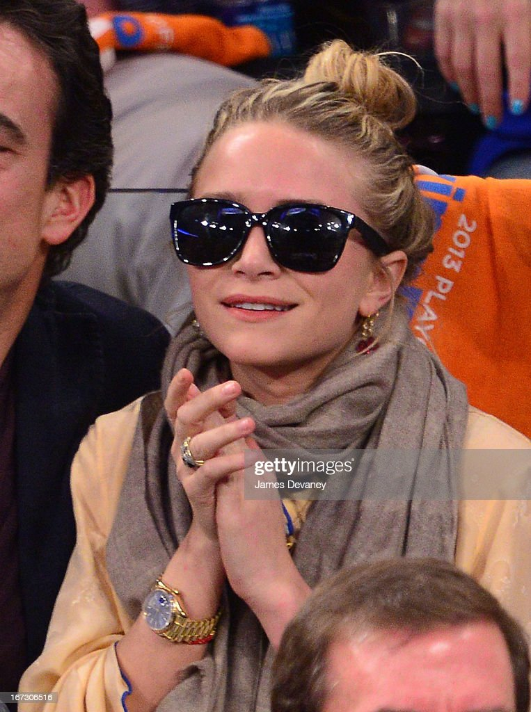 Mary-Kate Olsen attends the Boston Celtics vs New York Knicks Playoff Game at Madison Square Garden on April 23, 2013 in New York City.