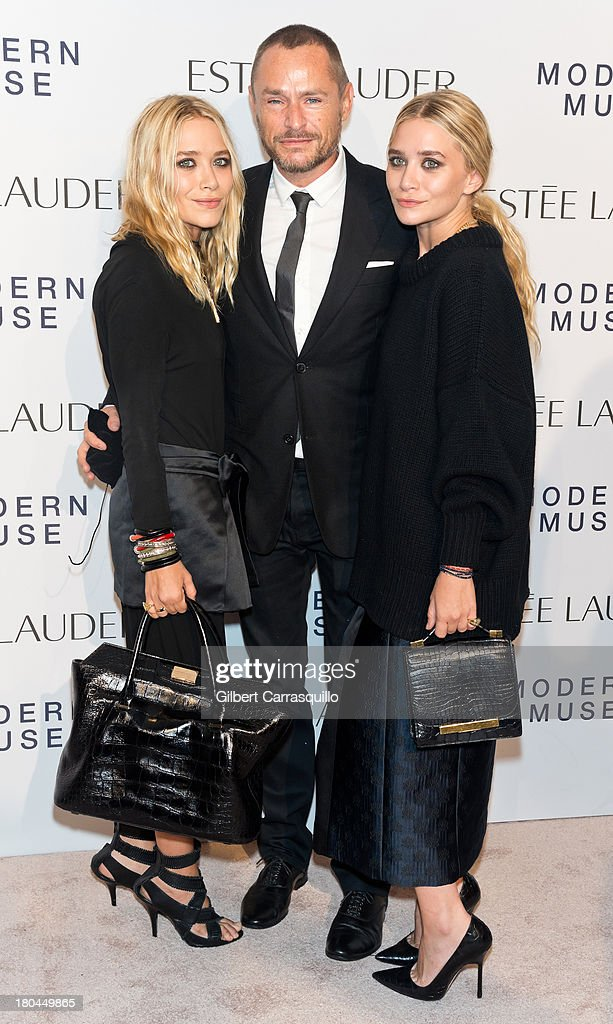 <a gi-track='captionPersonalityLinkClicked' href=/galleries/search?phrase=Mary-Kate+Olsen&family=editorial&specificpeople=156430 ng-click='$event.stopPropagation()'>Mary-Kate Olsen</a>, makeup artist Tom Pecheux and <a gi-track='captionPersonalityLinkClicked' href=/galleries/search?phrase=Ashley+Olsen&family=editorial&specificpeople=156429 ng-click='$event.stopPropagation()'>Ashley Olsen</a> attend the Estee Lauder 'Modern Muse' Fragrance Launch at Guggenheim Museum on September 12, 2013 in New York City.