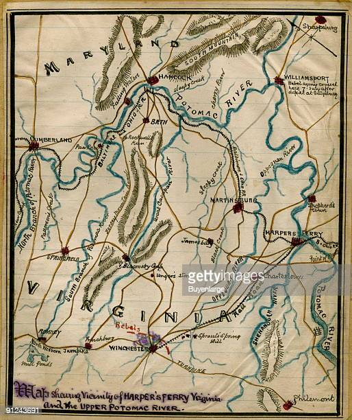 Maryland and Virginia between the towns of Cumberland Md on the west and Harpers Ferry Va [now WVa] on the eastern side of the map Sneden details the...