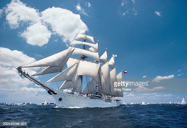 USA, Maryland, Chesapeake Bay, tall ship sailing in bay, dawn