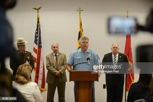 Maryland Governor Larry Hogan right St Mary's County Sheriff Tim Cameron second from right on the microphone Maryland State Police Colonel William...