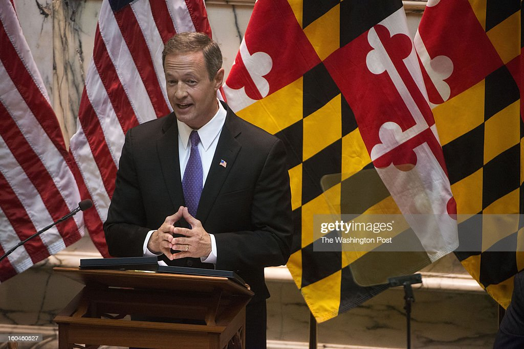 JANUARY 29 Maryland Governor Martin O' Malley delivers the State of the State address in Annapolis, Maryland on January 29, 2013. The governor called for a ban on assault rifles as well as an end to the death penalty.
