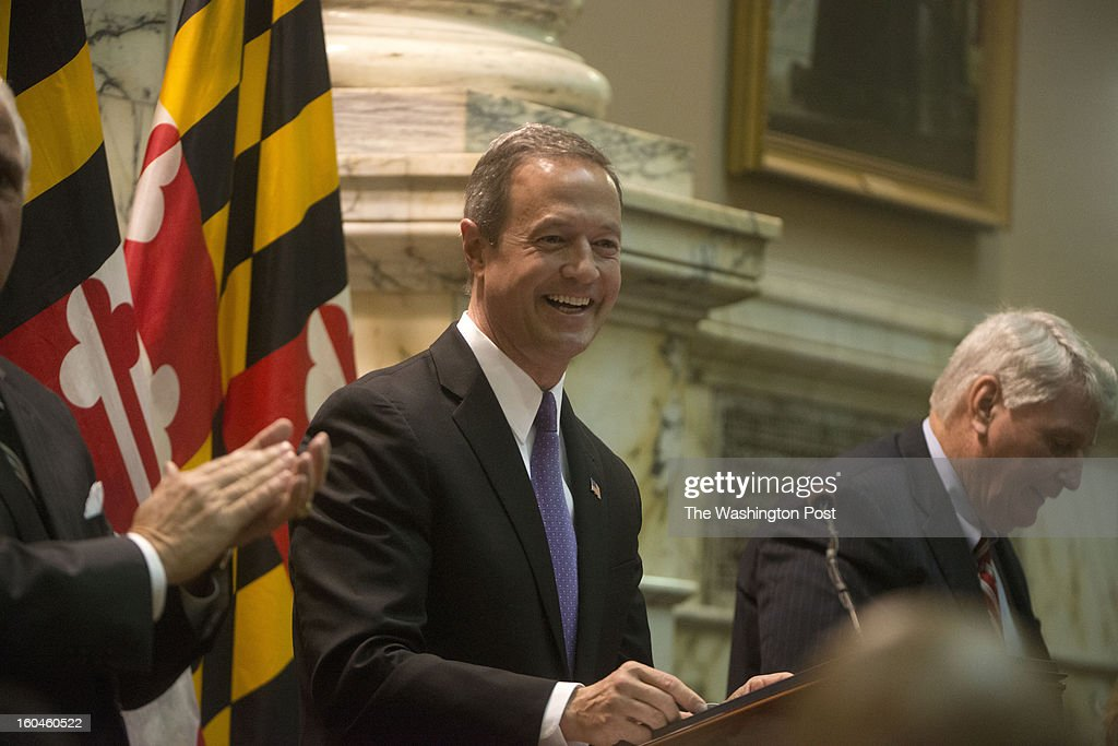 JANUARY 29 Maryland Governor Martin O' Malley greets members of the Maryland House and Senate chambers before he delivers the State of the State address in Annapolis, Maryland on January 29, 2013. The governor called for a ban on assault rifles as well as an end to the death penalty.