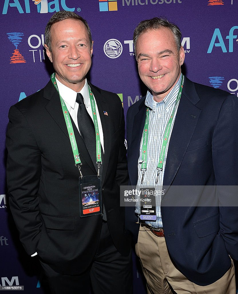 Maryland Governor Martin O'Malley (L) and Senator Tim Kaine (D-VA) attend the Inaugural Youth Ball hosted by OurTime.org at Donald W. Reynolds Center on January 19, 2013 in Washington, United States.