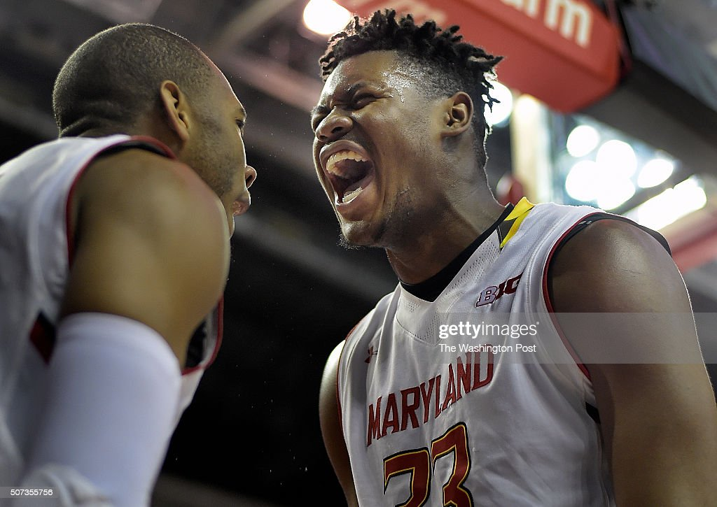 Maryland guard Rasheed Sulaimon left celebrates his basket and getting fouled with Maryland center Diamond Stone right late in the game during the...