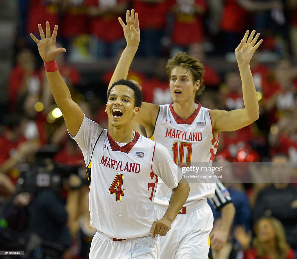 Maryland guard Seth Allen (4), left, and Maryland forward Jake Layman (10) celebrate very late in the game as the University of Maryland defeats Duke 83 - 81in NCAA mens basketball at the Comcast Center in College Park MD, February 16, 2012 .