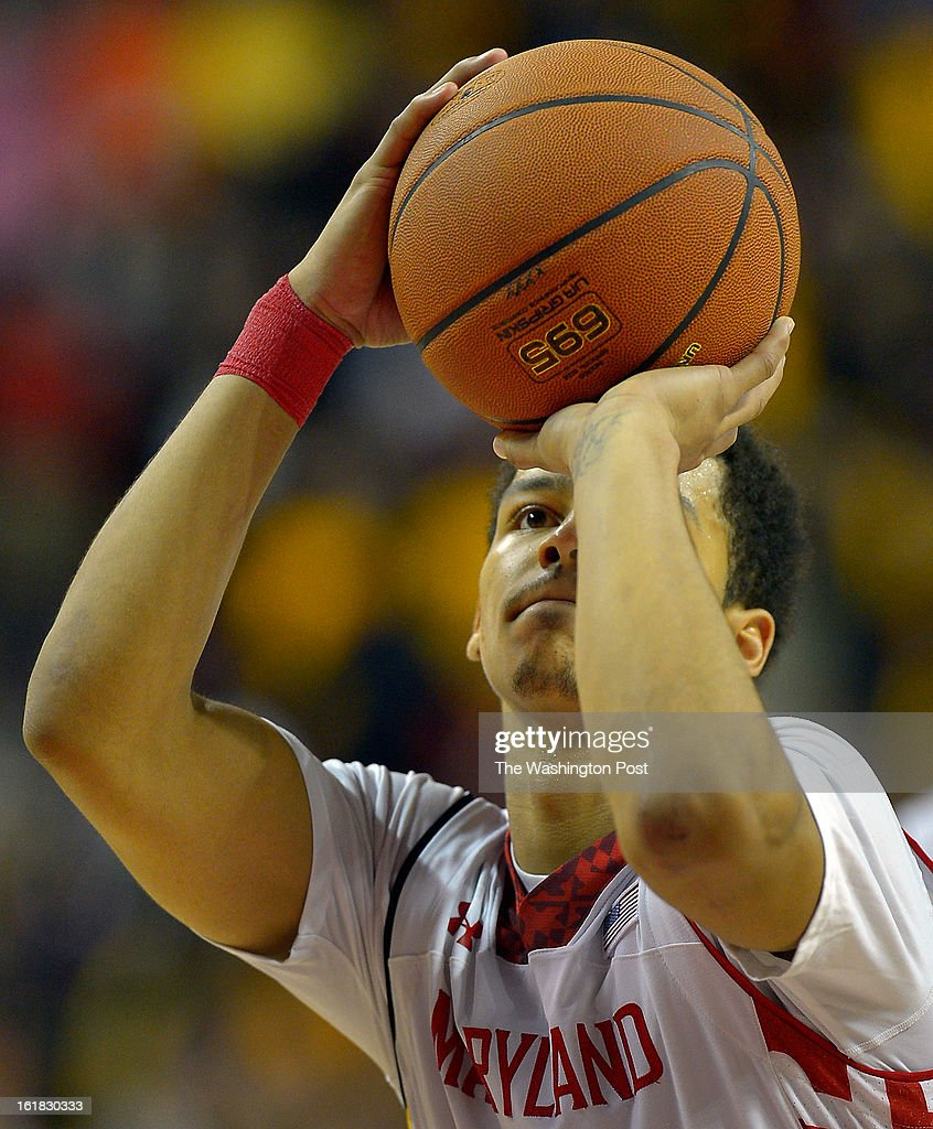 Maryland guard Seth Allen (4) makes the tie breaking free throw that won the game with just a little under 3 seconds to play as the University of Maryland defeats Duke 83 - 81in NCAA mens basketball at the Comcast Center in College Park MD, February 16, 2012 .