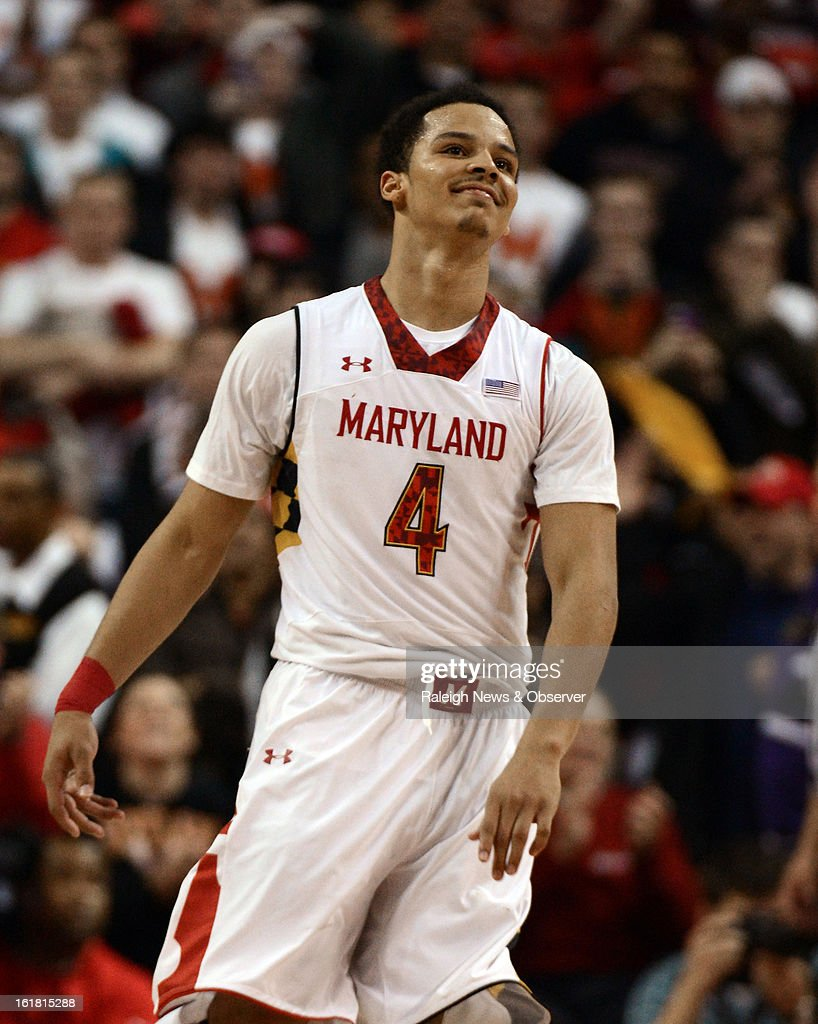 Maryland guard Seth Allen (4) reacts after scoring the winning points against Duke at the Comcast Center in College Park, Maryland, Saturday, January 16, 2013. Maryland upset Duke, 83-81.