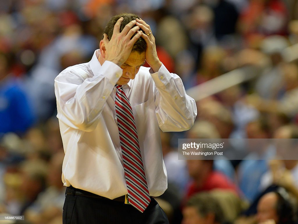 Maryland head basketball coach Mark Turgeon reacts to not making a play in the final minutes of the game as the North Carolina Tar Heels defeat the Maryland Terrapins 79 - 76 in the ACC mens basketball semifinal at the Greensboro Coliseum in Greensboro NC, March 16, 2013.